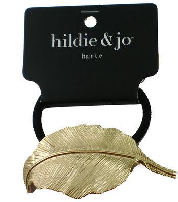 hildie & jo Black Hair Tie with Gold Leaf Charm
