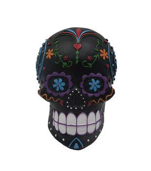 Maker's Halloween Skull Tabletop Decor-Day of the Dead on Black