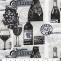 Anti-Pill Plush Fleece Fabric-Wine Stamp Black & White