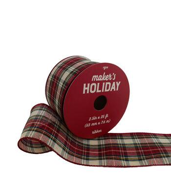Maker's Holiday Christmas Ribbon 2.5''x25'-Red & Ivory Plaid