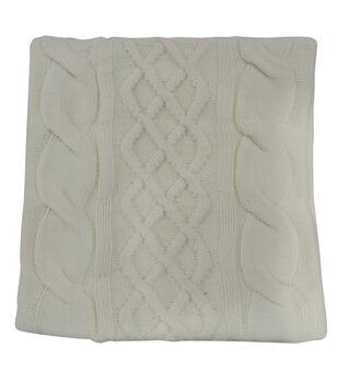 Handmade Holiday Christmas 18''x18'' Knit Pillow Shell-Ivory