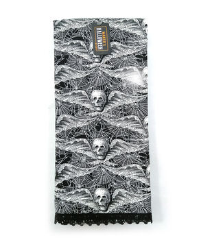 Maker's Halloween Decor 16''x26'' Towel with Trims-Wing Skulls