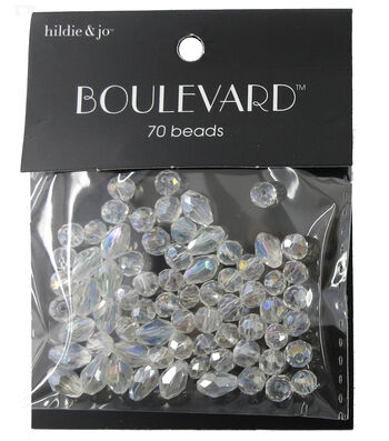 hildie & jo Boulevard 70 Pack Mixed Multi Sizes Glass Beads-Clear
