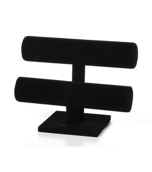 Darice 7'' 2-Tier Velvet Bracelet Stand-Black