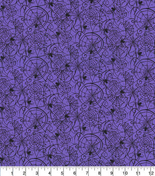 Halloween Cotton Fabric-Bewitched Spider Web Purple