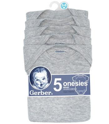 Gerber 5pk Gray Onesies 3-6M