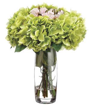 Hydrangeas & Roses in Glass Vase 15''-Pink & Green