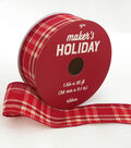 Maker\u0027s Holiday Christmas Ribbon 1.5\u0027\u0027x30\u0027-Red & Ivory Plaid