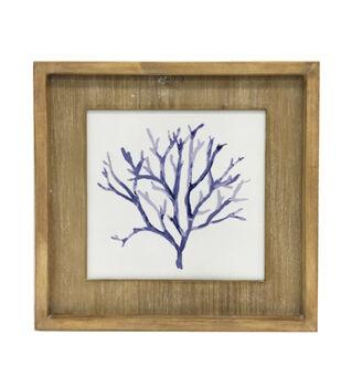 Indigo Mist Coral Print on Wood Wall Décor