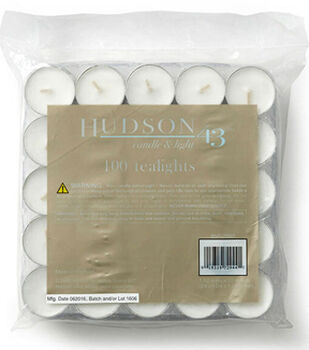 Hudson 43 Candle & Light Collection 100pk Unscented Pressed Tealights-White