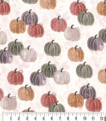 """Harvest Cotton Fabric 43""""-Watercolor Pumpkins"""