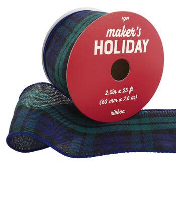 Maker's Holiday Christmas Ribbon 2.5''x25'-Navy Blue & Green Plaid