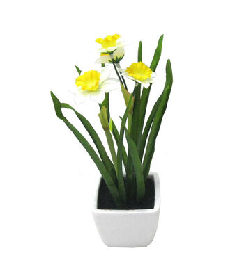 Fresh Picked Spring 10'' Narcissus in Container-White & Yellow