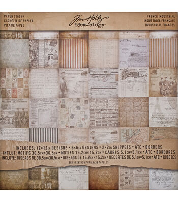 "Idea-Ology Paper Stash Paper Pad 12""X12"" 36/Pkg-French Industrial"