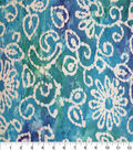 Speciality Cotton Gauze Fabric -Batik Floral on Teal & Navy Tie Dye