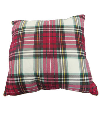 Maker's Holiday Christmas Pillow-Tartan Plaid