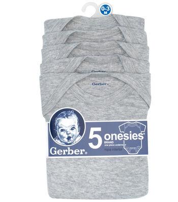Gerber 5pk Gray Onesies 0-3M