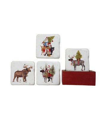 3R Studios Christmas Square Resin Coasters in Wood Box-Santa & Reindeer