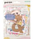 Good Vibes Ephemera Die-Cuts 45/Pkg-Cardstock & Cork
