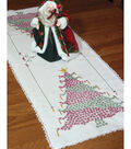 Stamped Lace Edge Table Runner 15\u0022X42\u0022-Christmas Tree