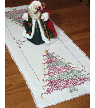 """Stamped Lace Edge Table Runner 15""""X42""""-Christmas Tree"""