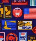 Snuggle Flannel Fabric 42\u0027\u0027-State Stamps