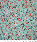 Quilter\u0027s Showcase Cotton Fabric-Folk Floral Teal Coral