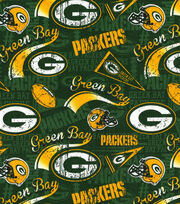 Green Bay Packers Cotton Fabric  - Retro, , hi-res