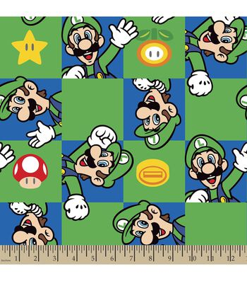 Nintendo Luigi Character Print Fabric