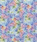 Premium Quilt Cotton Fabric-Rainbow Scrolls White