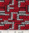 Novelty Cotton Fabric -Dog Words On Black