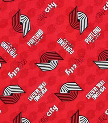 Portland Trailblazers Cotton Fabric -Logo Toss