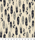 Snuggle Flannel Fabric -Black & White Feathers