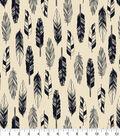 Snuggle Flannel Fabric 42\u0027\u0027-Black & White Feathers
