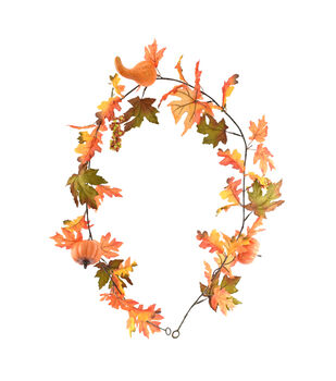 Blooming Autumn Maple Leaves with Pumpkins Garland