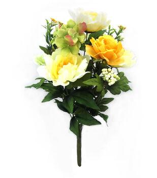 Bloom Room Peony, Hydrangea & Berry Bush-Yellow, Green & Cream