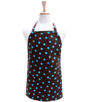 Two Lumps Of Sugar Adult Utility Apron-Brown Turquoise Polka Dot