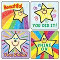 Carson Dellosa Kid-Drawn Stars Motivational Stickers 12 Packs