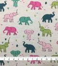 Doodles Cotton Spandex Interlock Knit Fabric-Pink Heather Elephants
