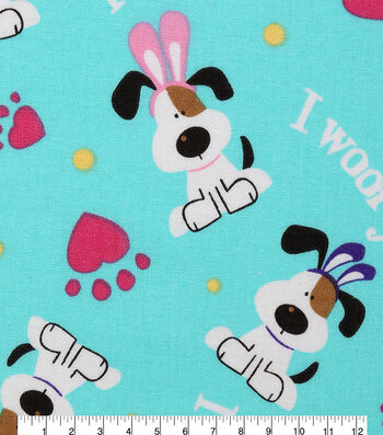"""Easter Cotton Fabric 43""""-I Woof You"""