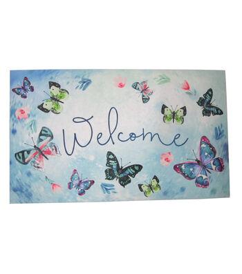 In the Garden Rubber Door Mat-Butterflies & Welcome