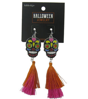 hildie & jo Halloween Earrings-Skeleton Tassel