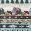 Anti-Pill Plush Fleece Fabric-Forest Bears & Stripes