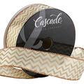 Cascade Fall Satin Ribbon 1.5\u0022x15 yds-Gold Chevrons on Cream