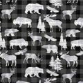 Super Snuggle Flannel Fabric-Animals on Gray & Black Buffalo Check