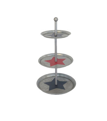 Americana Patriotic Galvanized 3-Tier Riser-Star