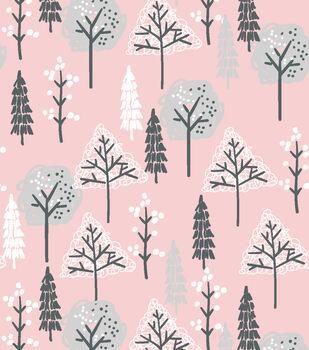 Nursery Flannel Fabric-Wood Trees on Pink