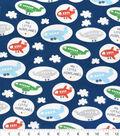 Nursery Cotton Fabric-Airplane Tossed Navy