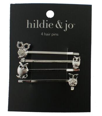 hildie & jo 4 Pack Owl Hair Pins-Beads & Crystals