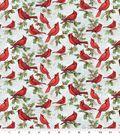 Christmas Cotton Fabric 44\u0022-Cardinal on Script